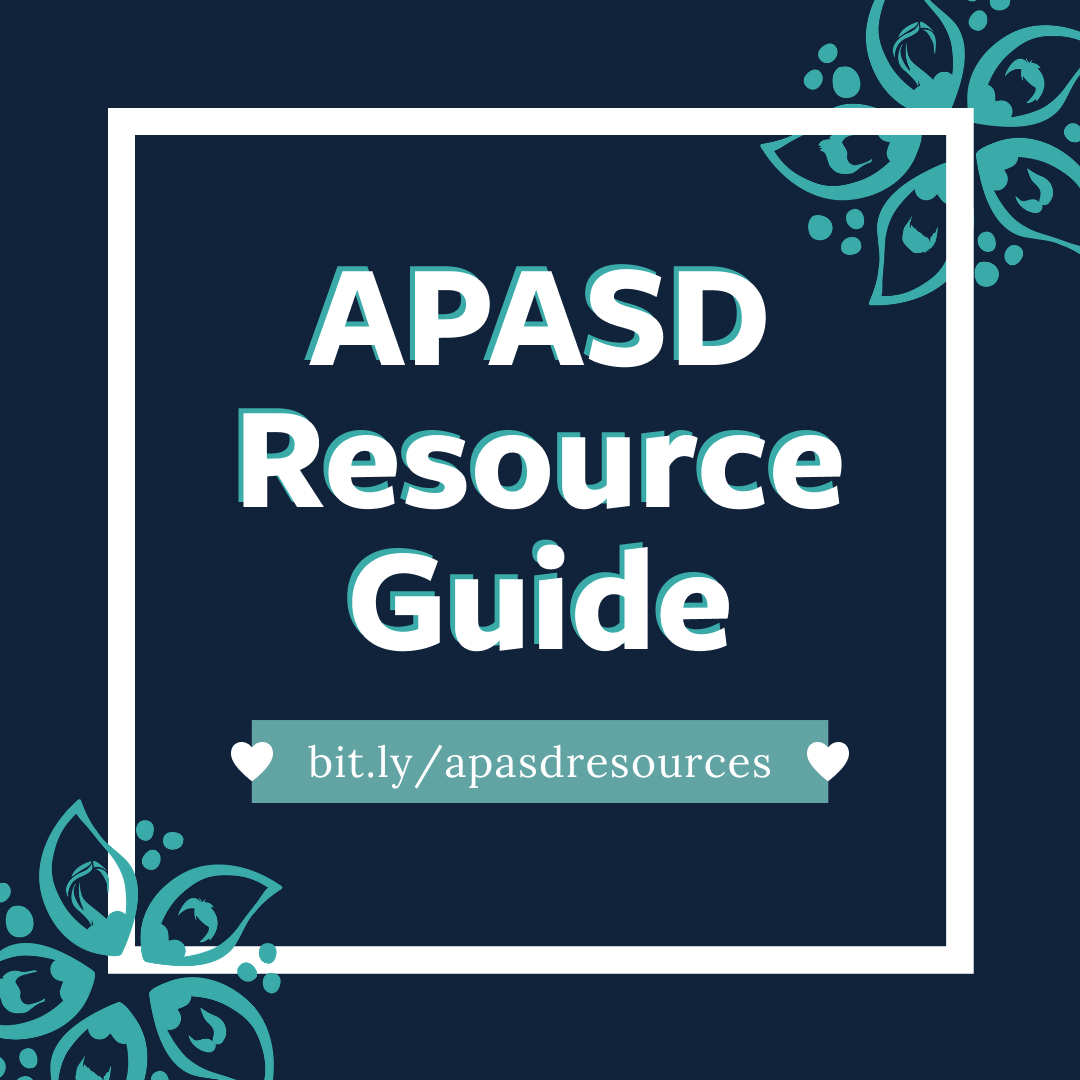 Navy blue box with text that reads APASD Resource Guide.