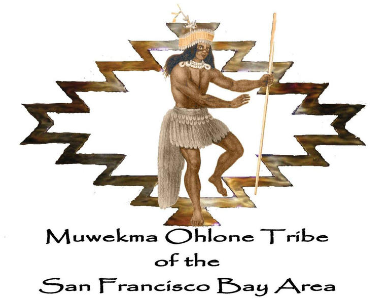 The Muwekma Ohlone Flag. It is a man holding an object that is between a tribal pattern with his foot in a dancing position