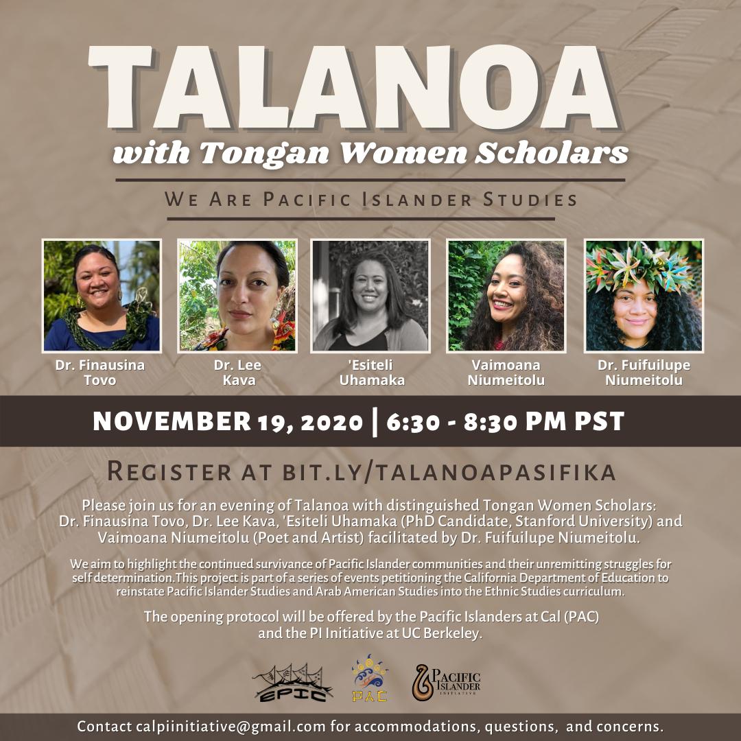 Talanoa with Tongan Women Scholars: We are Pacific Islander Studies