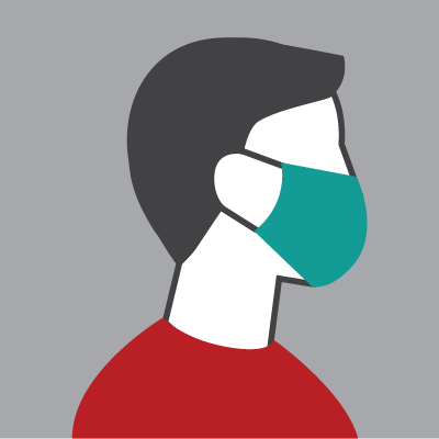 A stock icon image of a person wearing a mask