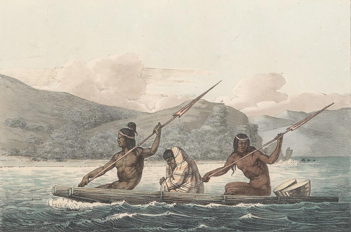 Painting of three Ohlone people crossing the waters in San Francisco Bay by Louis Choris.