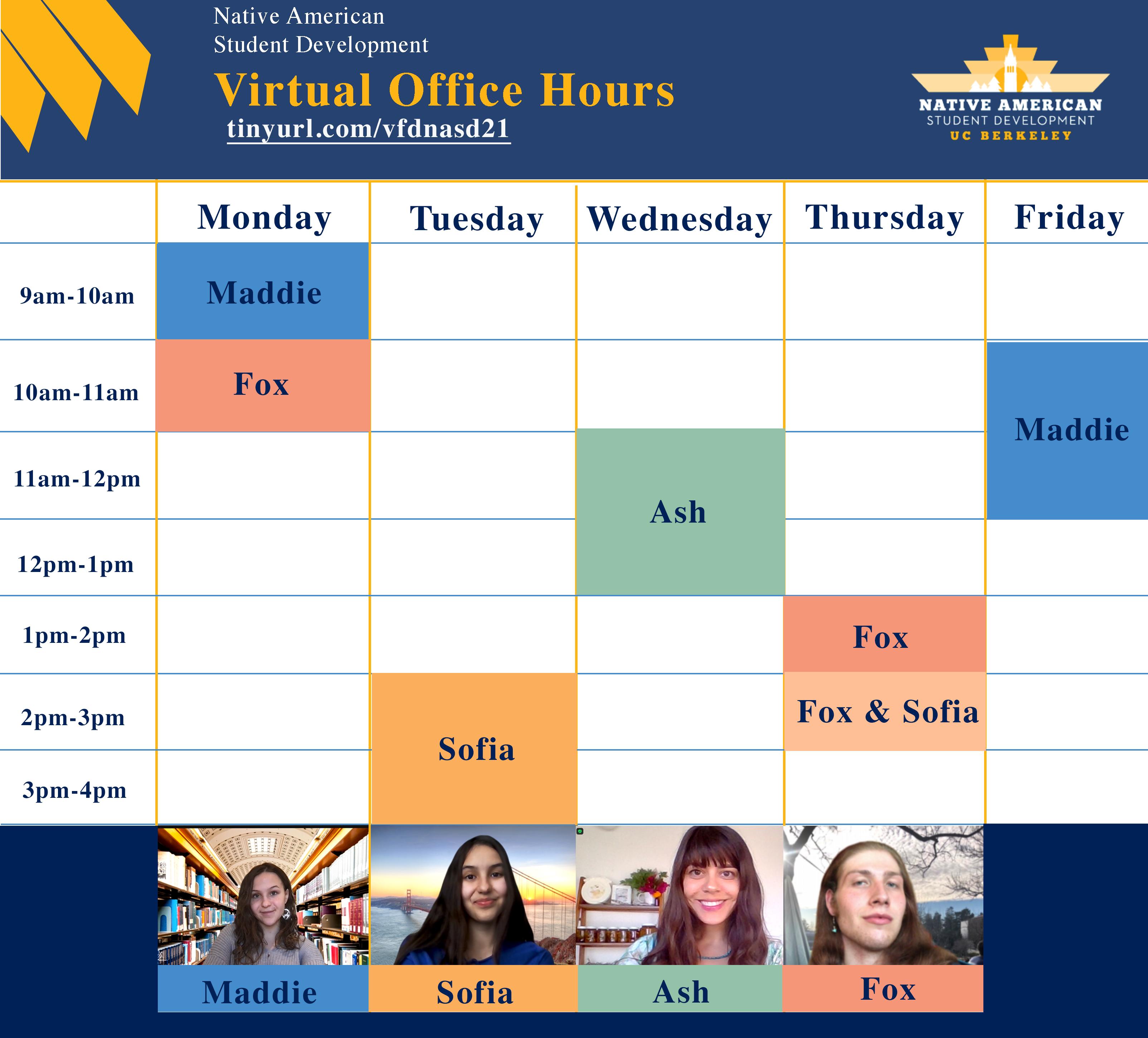 Virtual office hours calendar