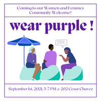 """Text """"wear purple"""" and event details. Graphic with 3 gender diverse people sitting with text bubble above; all wearing purple clothing"""